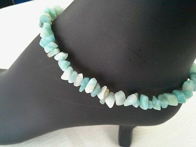 Anklet Amazonite Stone Green Gold Plated 10 inches Handmade GB USA New