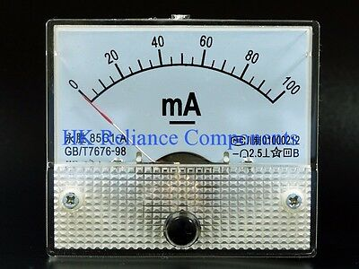Panel Meter Ammeter Dc 100ma Size 3.4 85mm 85c1