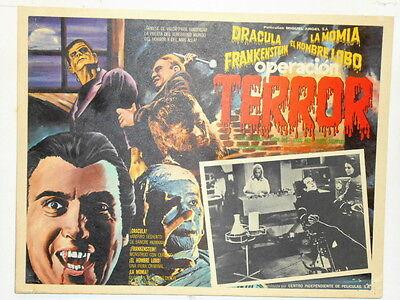 Operation Terror Dracula Frankenstein Wolfman The Mummy Lobby Card Poster 1970