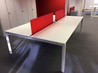 4 positions office workstation desk white top with red divider bench