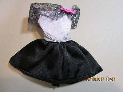 Barbie Doll Clothes ~ Vintage Black & White Dress with Purple Tag A-11