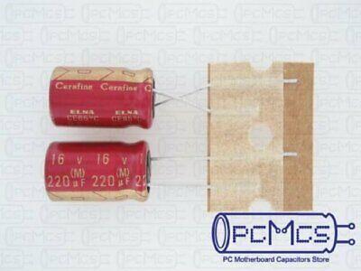 2 Of Elna For Audio Roa Cerafine 16v 220uf Hi-fi Made In Japan Capacitor Red Ver