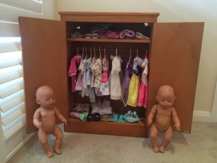 Baby born dolls, clothes and wooden furniture