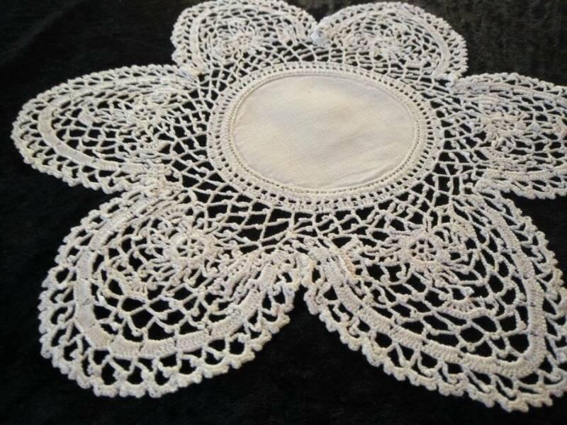 Beautiful White Hand Crochet on Linen Antique Doily