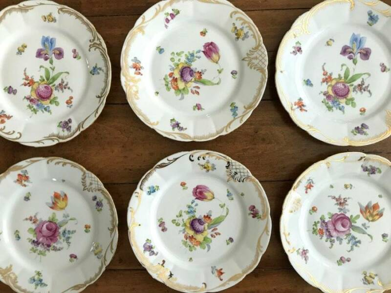 "(6) Old or Antique RL DRESDEN Flowers HAND PAINTED 8 1/2"" Dessert Plates"