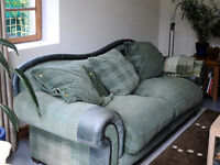 Leather and Material 3 Seater Sofa, Armchair and Pouffe Footstool Good Condition DFS