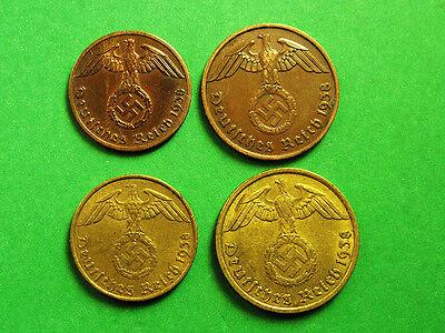 Germany,Third Reich 1;2:5;10 Reichspfennings Set, German Eagle, Nazi Swastika