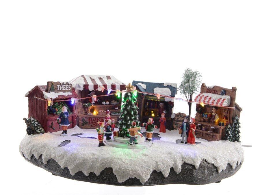 MERCATINO CON LUCI LED SUONO E MOVIMENTO Natale Villaggio Decorazioni 481425