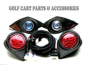 Golf cart tail lights ebay yamaha g29 drive golf cart 2007 up halogen headlight kit with led tail lights sciox Gallery