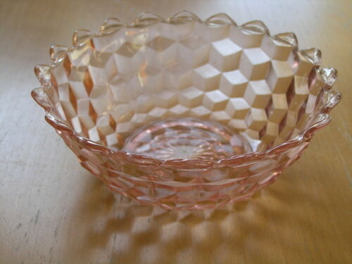 """Jeannette Glass Company Depression Cube Cubist  Pink 7 3/8"""" Bowl As Shown"""