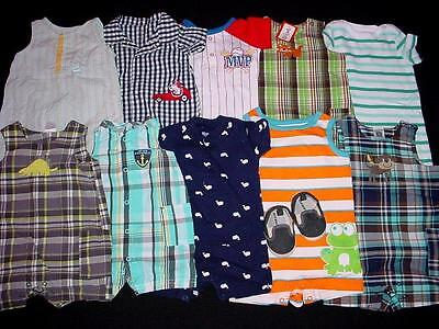 USED BABY BOY ONE PIECE  03 36 MONTHS SPRING SUMMER ROMPERS CLOTHES LOT