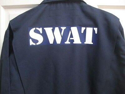 COSTUME SWAT Police Full Length JUMPSUIT Coverall Halloween - Swat Halloween Kostüm