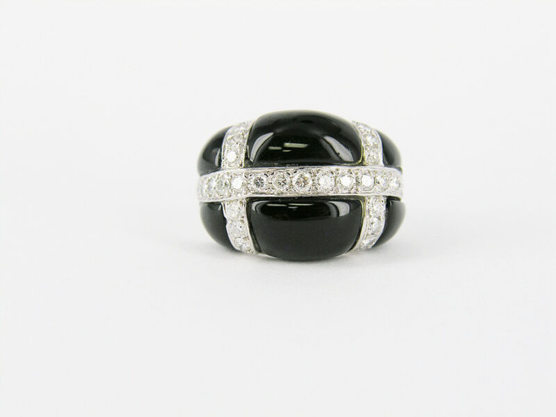 14kt White Gold Diamond & Onyx Ring