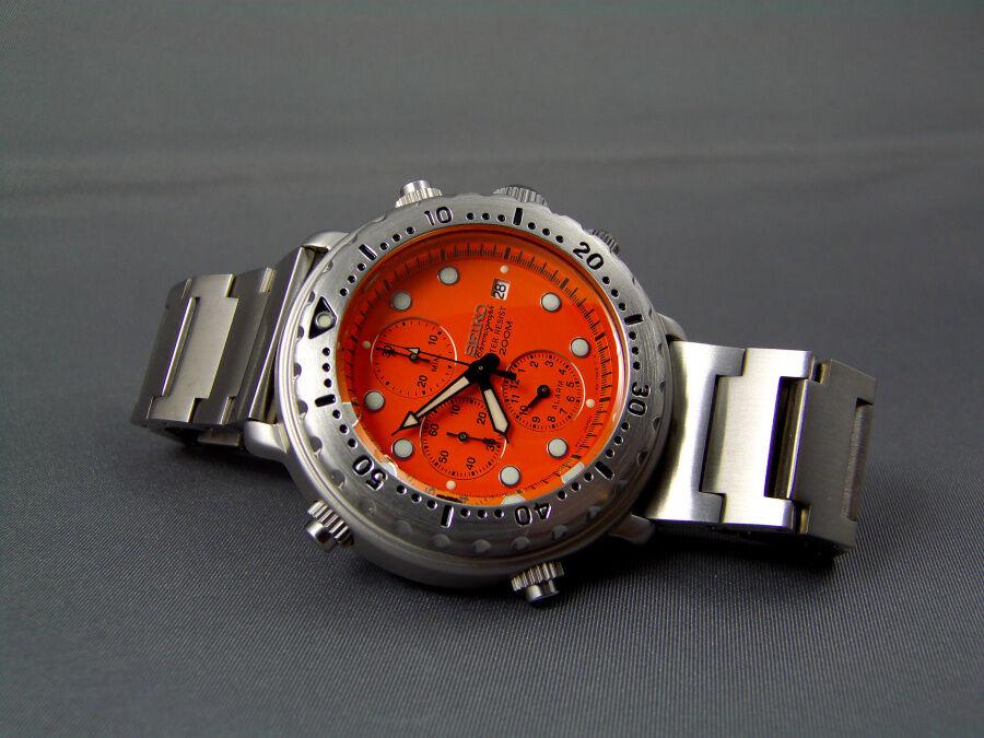 Seiko italian tuna vintage chronograph diver watch 200m y182 7c20 orange monster ebay - Orange dive watch ...