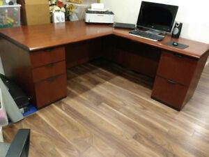Solid wood desk and credenza