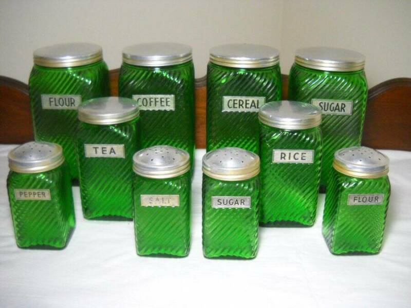 Owens Illinois 10 Piece Green Glass Canisters 1930