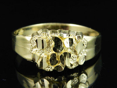 Mens Real 10K Yellow Gold Nugget Style Custom Designer Fancy Pinky Ring