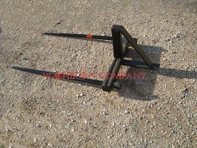Hay Bale Mover Stacker Bucket Mounted W 2-48 Hay Spears