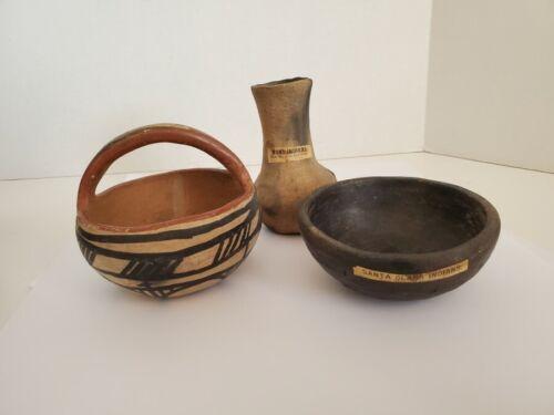 Three Antique Native American Tourist Pottery Pieces - Zuni, Santa Clara & Hopi