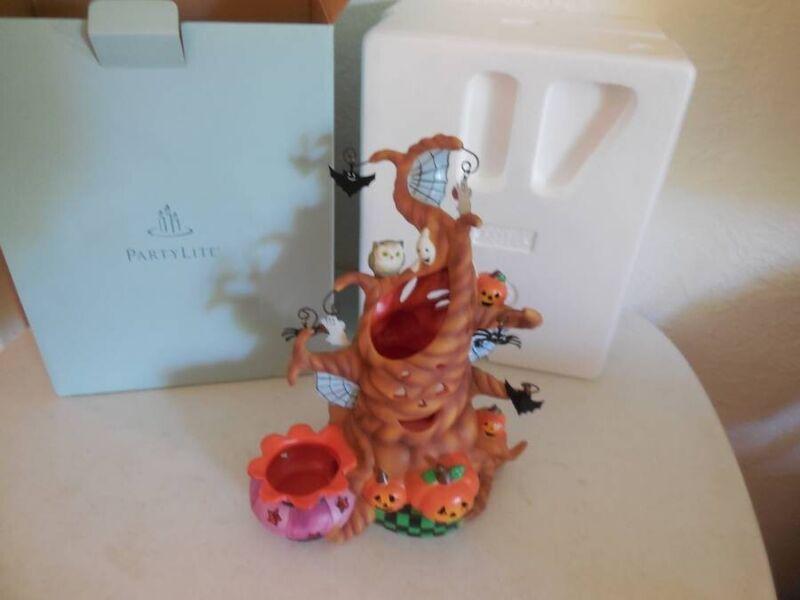 Partylite Halloween Ceramic Haunted Tealight Tree New In Box #P9065