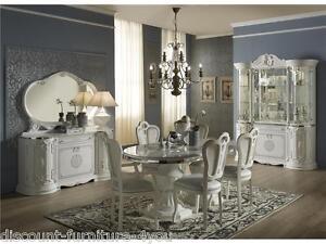 LUXURY ITALIAN WHITE LIVING U0026 DINING ROOM FURNITURE WITH DIAMANTE INSERTS