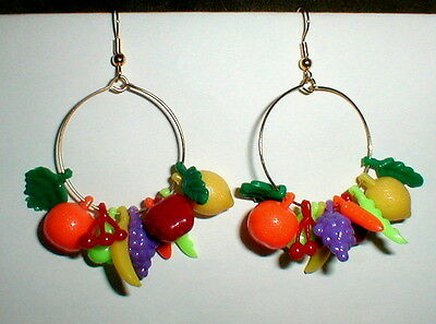 CARMEN MIRANDA FRUIT EARRINGS costume festival Mardi Gras! tropical tiki luau - Carmen Costume