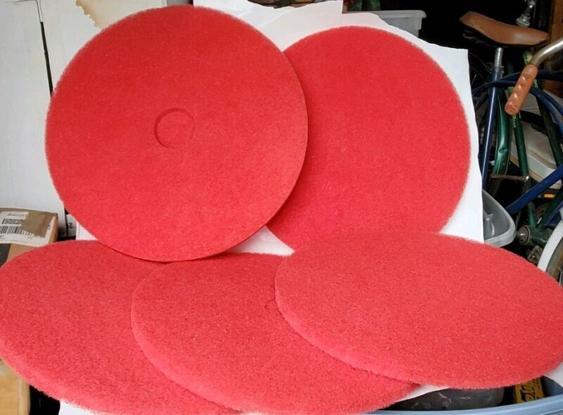 """5 - 20"""" Red Buffing Floor Maintenance Pads"""