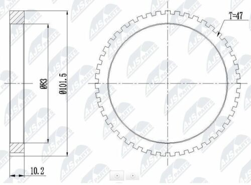 ABS RING FOR HYUNDAI COUPE SONATA II & III  47 T 101,5 MM / 83 MM / 10,2 MM