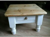 Chunky Solid Pine Coffee/Side Table (painted in antique white)