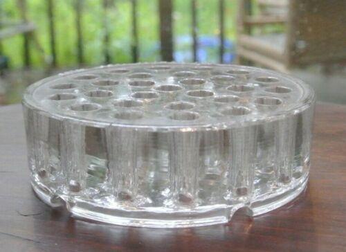 Vintage Clear Glass Japana Cylinder Flower Frog 28 Holes