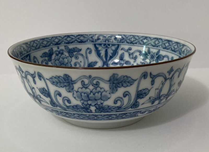 """8"""" Oriental Blue and White Bowl Noodles Rice Vegetable"""