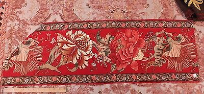 French Antique Printed Indienne Border Hand Blocked & Penciled Fabric c1840-60