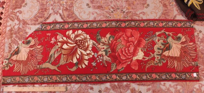 French Antique 19th Printed Indienne Border HandBlocked/Penciled Fabric c1840-60