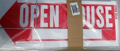 Hy-ko Corrugated Sign Red 10 X 24 Open House Plastic Pack Of 5 With Stand New
