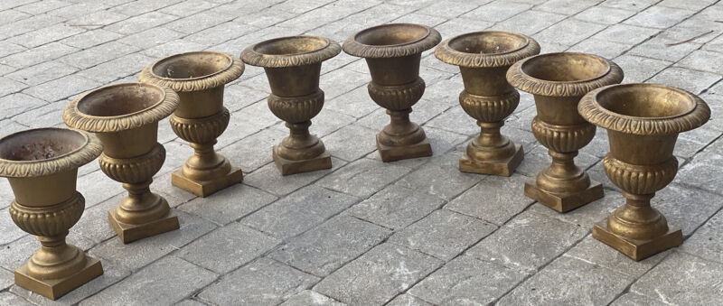 "Vintage French Cast Iron Garden Planter Gold Topiary Urn 10"" Urns (Per Pair)"