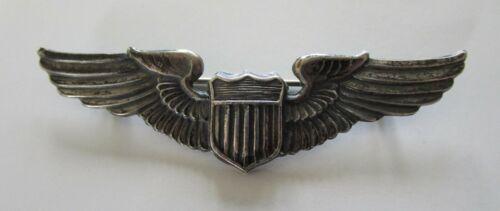 WW II Pilot Wings 3-inch  Sterling Silver circa 1943-44