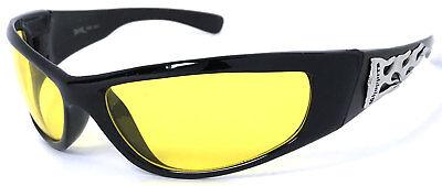Hot-choppers (HOT CHOPPERS Biker Sunglasses Night Driving Lens Wrap Around Flame Choppers Logo)