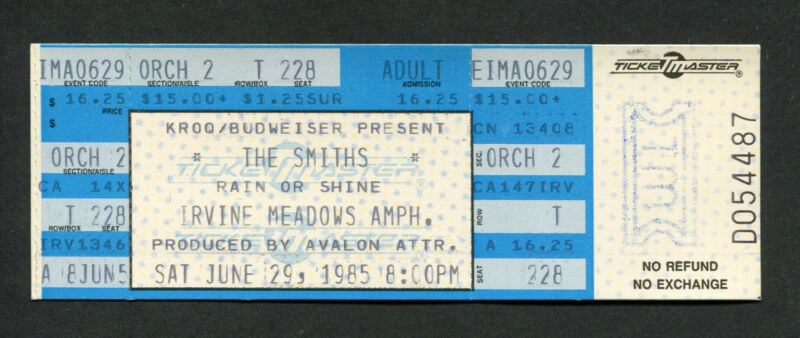 1985 The Smiths unused full concert ticket Morrissey Irvine CA Meat Is Murder