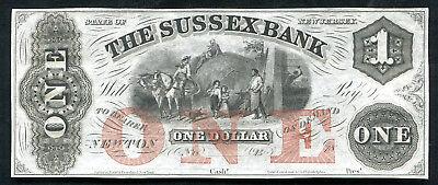 1800S  1 The Sussex Bank Newton  Nj Obsolete Remainder Gem Unc