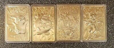 1999 Pokemon PIKACHU, JIGGLYPUFF, CHARIZARD, MEWTWO 23k Gold Card Lot Nintendo