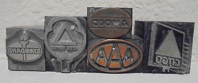 Lot Of 5 Vintage Printing Block Letterpress Blocks Gas Oil Aaa Amoco Citgo