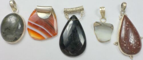 5 Vintage 925 Sterling Silver Jasper Onyx Agate Abalone Stone Pendant 59 Grams