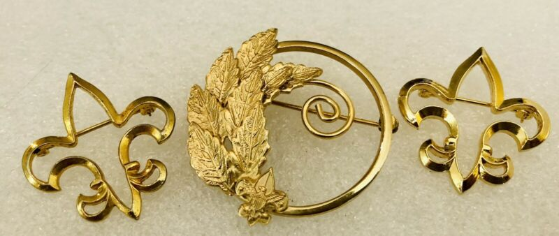 3 Piece BSA BOY SCOUTS brooch Pin Lot - Perfect For Mother - Tenderfoot