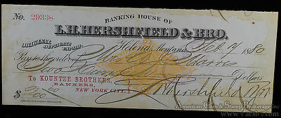 Obsolete Bank Note 1880 L H  Hershfield   Brother Helena Montana Territory