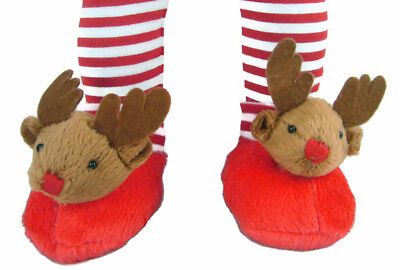 Christmas Holiday Rudolph Reindeer Slippers for American Girl 18