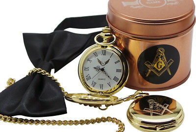 PERSONALISED Masonic Gold POCKET WATCH and Chain ENGRAVED Gift Case Freemason