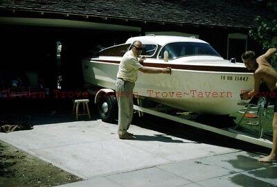 Lot of THREE 1957 Cleaning the Fiberglas Boat 35mm Slides dd139