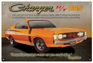 CHRYSLER-VALIANT-CHARGER-R-T-E49-TIN-SIGN-20x-30cm-True-Aussie-Muscle-Car