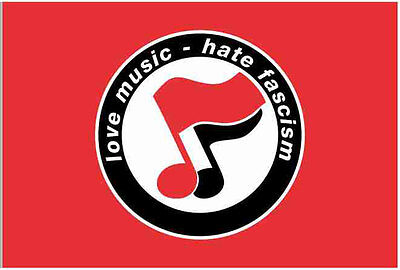 Flagge rot Motiv Love Music hate Facism (klassisch) 100x150 cm