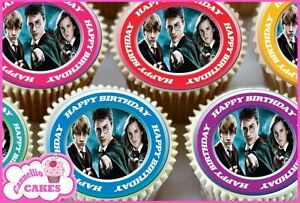24 X HARRY POTTER BIRTHDAY EDIBLE CUPCAKE CAKE TOPPERS RICE PAPER 8621